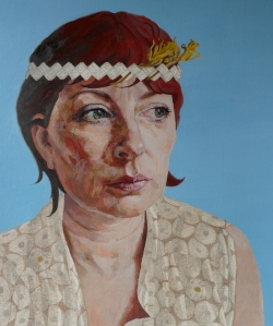 Rugby Art Gallery & Museum (2014) - Easter Self Portrait with Headband, 2012, Oils, Beach Jet & Silverpoint on Paper, 43 x 36cm