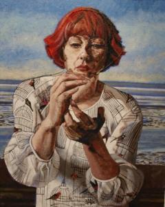 Madison Museum of Fine Art, Ohio (2014) - Open Series - Self Portrait Study 2, 2011, Oil & Stitch on Linen, 55 x 45cm