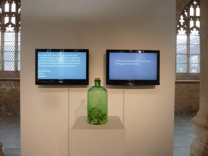 Linda Ingham - Eulogy, LOW RES Image 1, Memory Films and memory Scrolls in Recycled Glass Reliquary, 2013 - 2014
